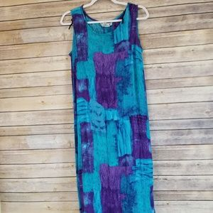 CM Shapes Purple and Turquoise Rayon Tank Dress XL